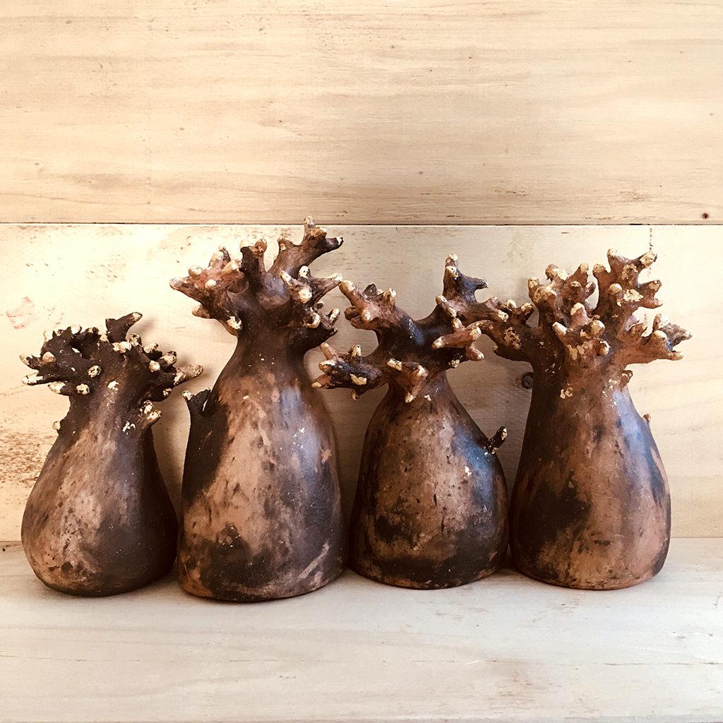 Baobabs terre et dorure Eva Garçon artiste plasticienne chez Eva Célia & Rosalie Aubignan centre artistique et saveurs Vaucluse art bien-être