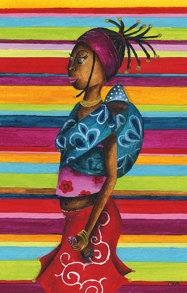 peinture acrylique femme africaine Eva Garçon artiste plasticienne chez Eva Célia & Rosalie Aubignan centre artistique et saveurs Vaucluse art bien-être