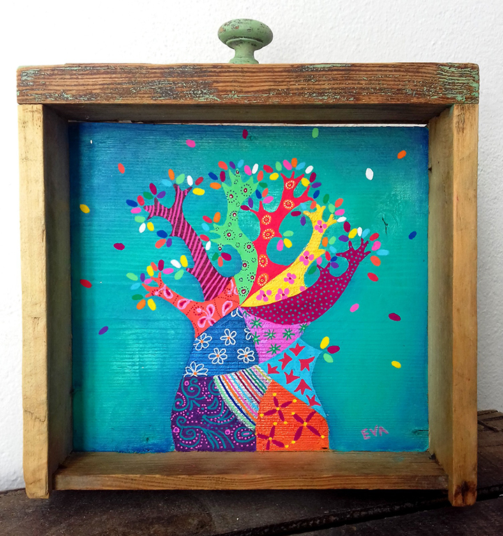 Peinture baobab acrylique tiroir Eva Garçon artiste plasticienne chez Eva Célia & Rosalie Aubignan centre artistique et saveurs Vaucluse art bien-être