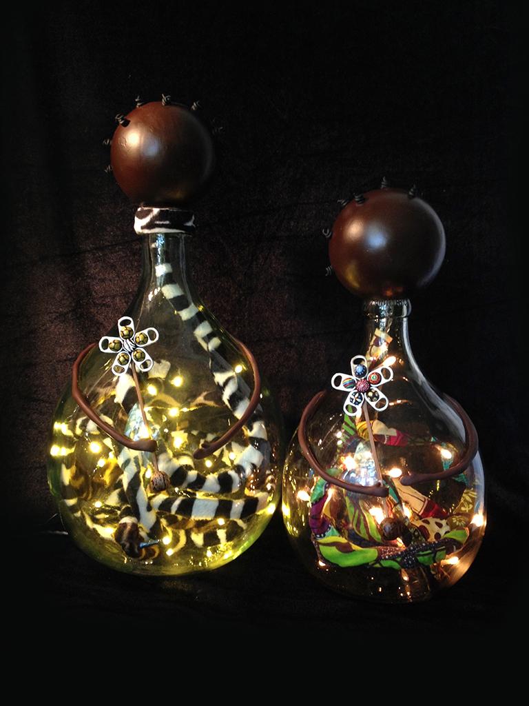 lampes afro bombones verre Eva Garçon artiste plasticienne chez Eva Célia & Rosalie Aubignan centre artistique et saveurs Vaucluse art bien-être
