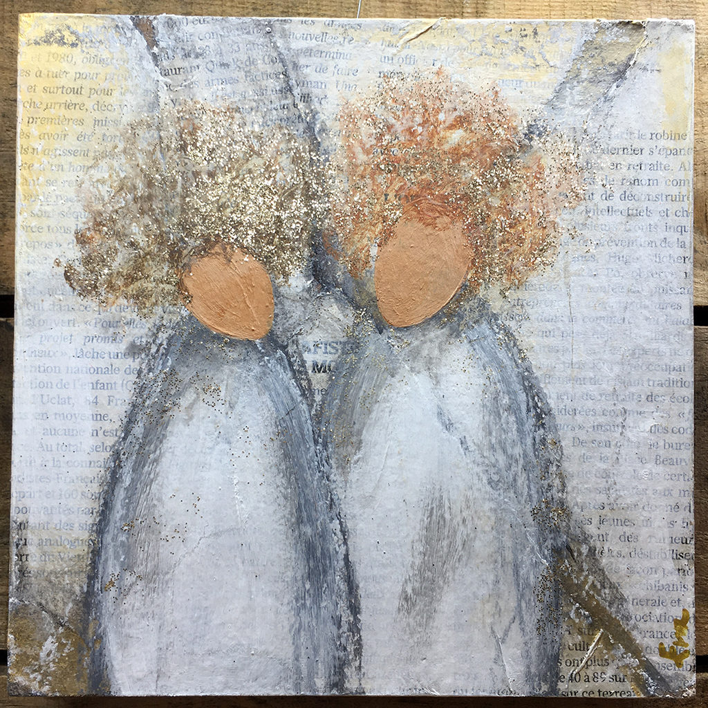 penture sister acrylique et paillettes Eva Garçon artiste plasticienne chez Eva Célia & Rosalie Aubignan centre artistique et saveurs Vaucluse art bien-être